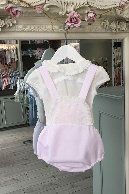 Yoedu Isabel pink and cream romper set