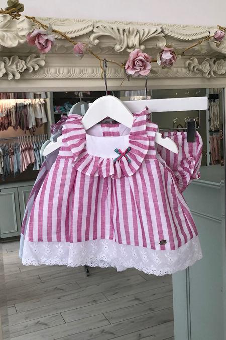 Yoedu Sadie pink striped dress and knickers set