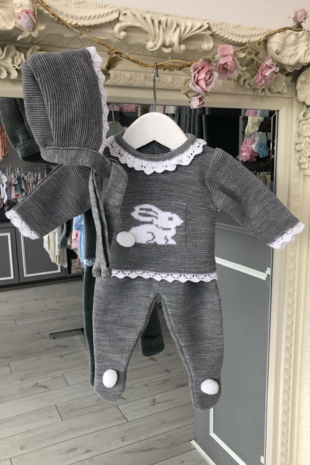 Grey bunny knitted set