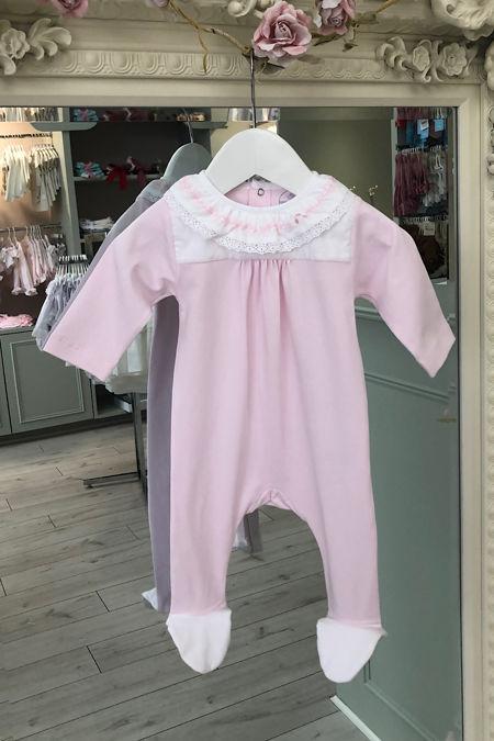 Laranjinha baby pink frill collar babygrow
