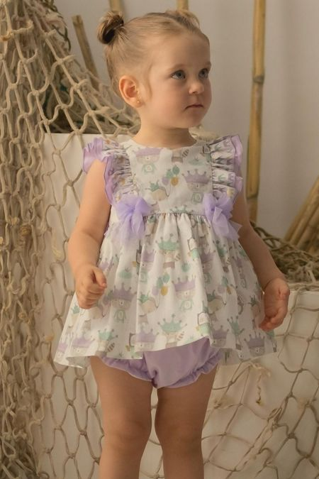 Olivia lilac tulle trim two piece set