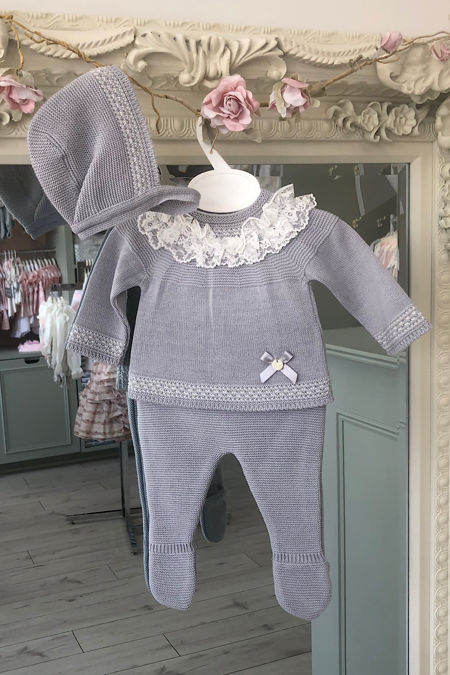 Valentina grey knitted three piece set