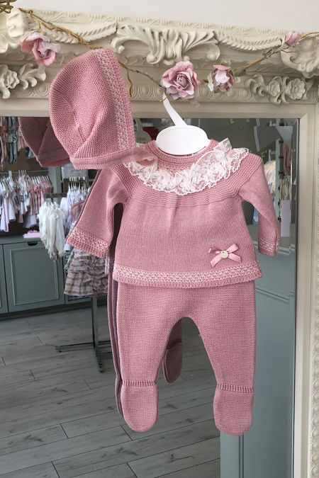 Valentina dusky pink knitted three piece set