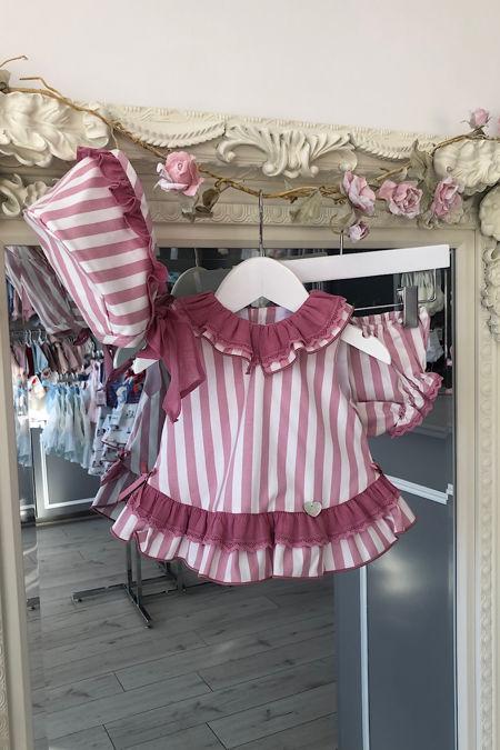 Marta Y Paula Gia dusky pink striped three piece set