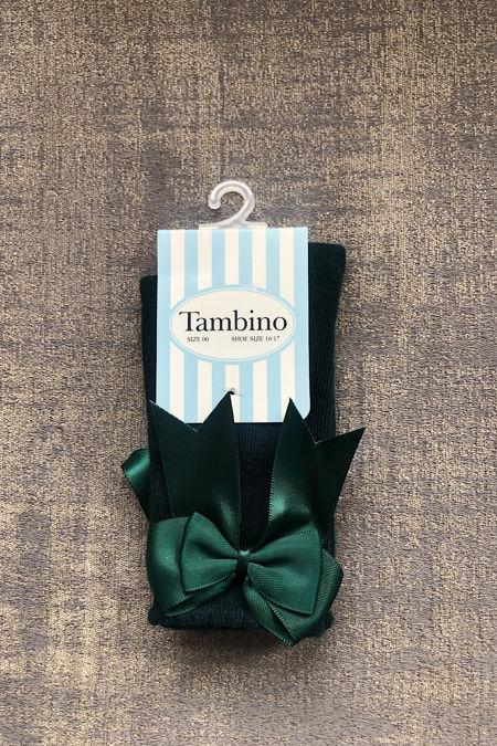 Bottle green bow socks