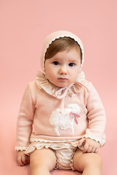 Foque pink sheep print sweater and knickers set