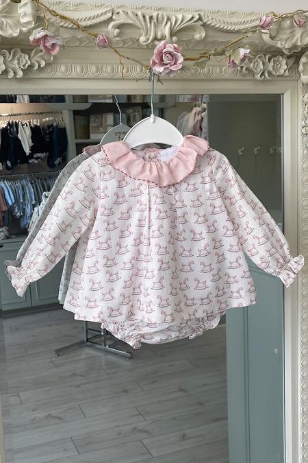 Yoedu pink rocking horse dress and knickers set