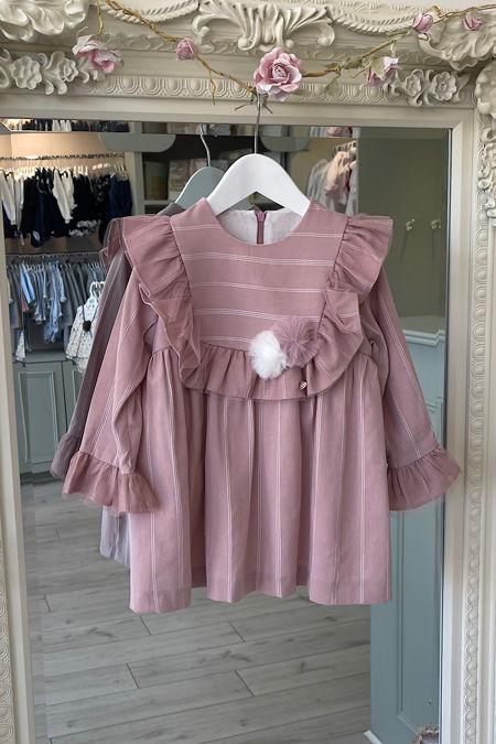 Yoedu Sadie dusky pink pom pom dress
