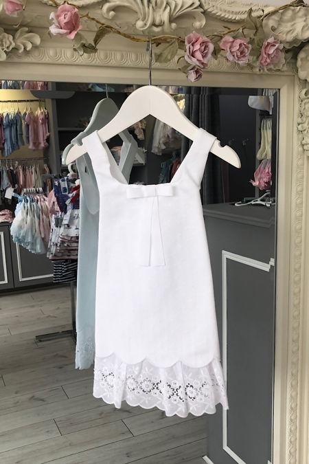 Rochy white cross back lace trim dress