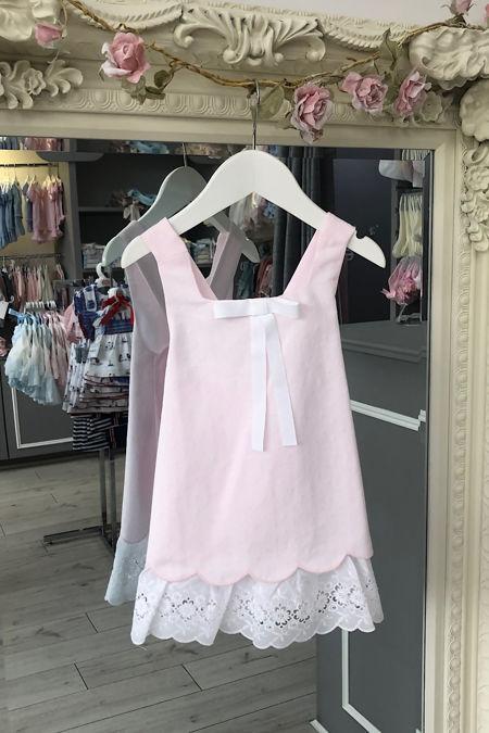 Rochy pink cross back lace trim dress