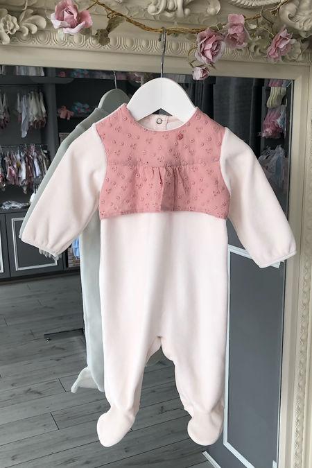 Amara pink broderie anglaise trim babygrow