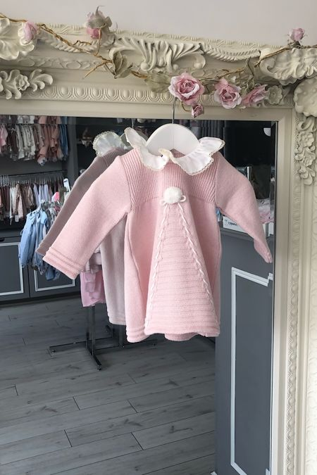 Foque pale pink frill collar knitted dress