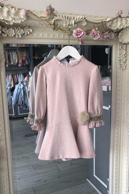 Foque pink fur pom pom dress