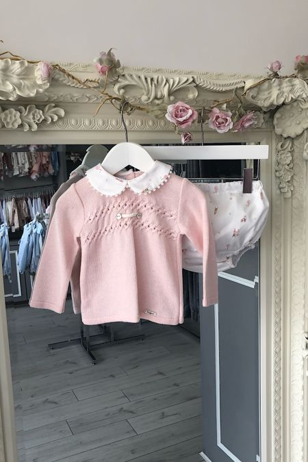 Foque pink knitted top and printed shorts set