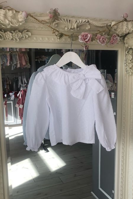 Chloe white bow blouse
