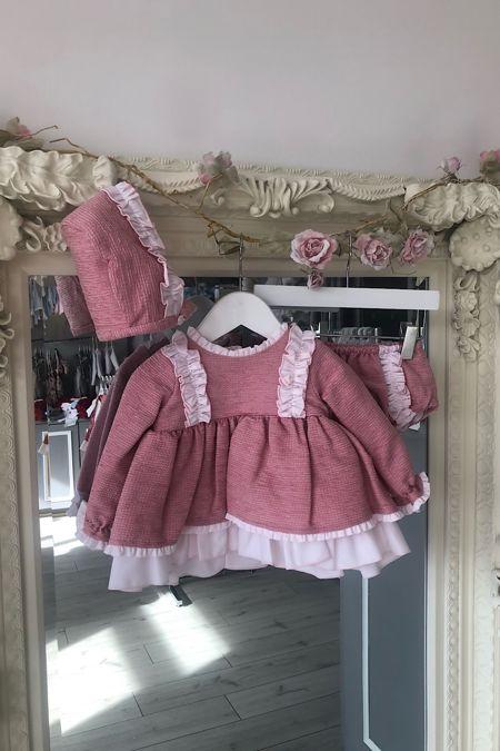 Gracie pink bonnet set
