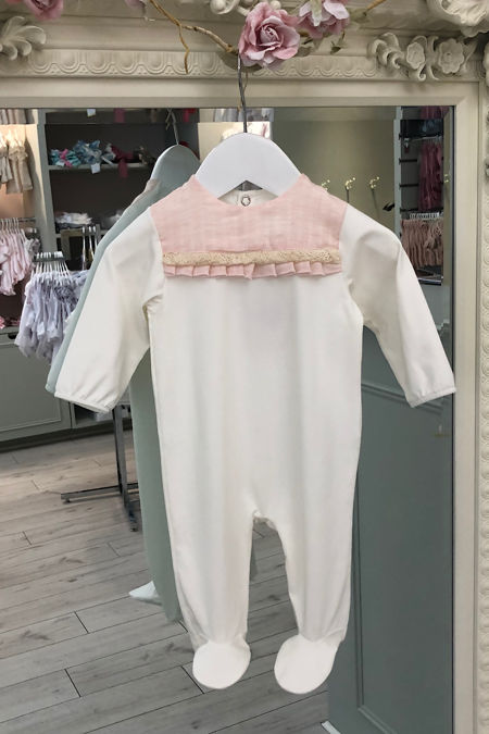 Millie cream and pink babygrow