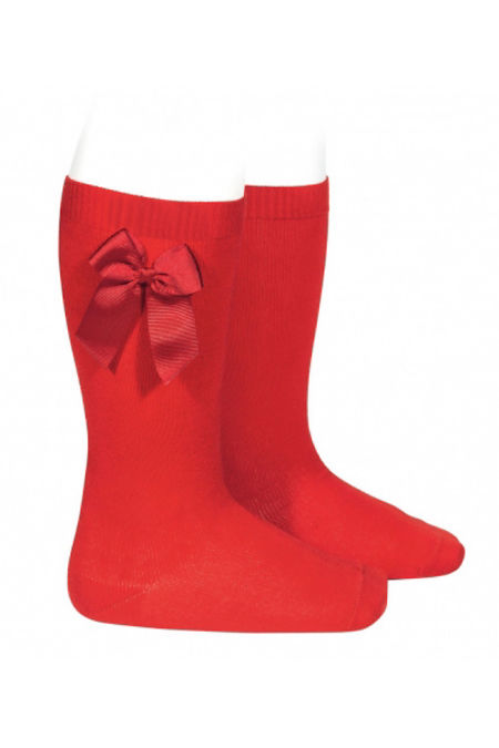 Condor red bow knee-high socks