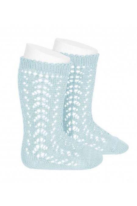 Condor aquamarine perle openwork knee high socks