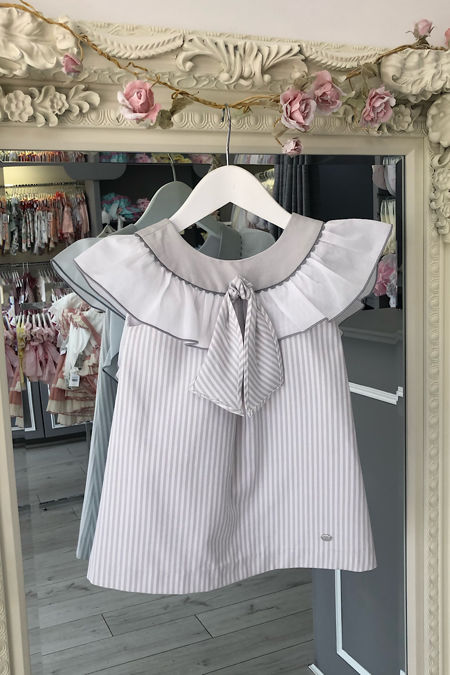 Yoedu grey and white stripe dress