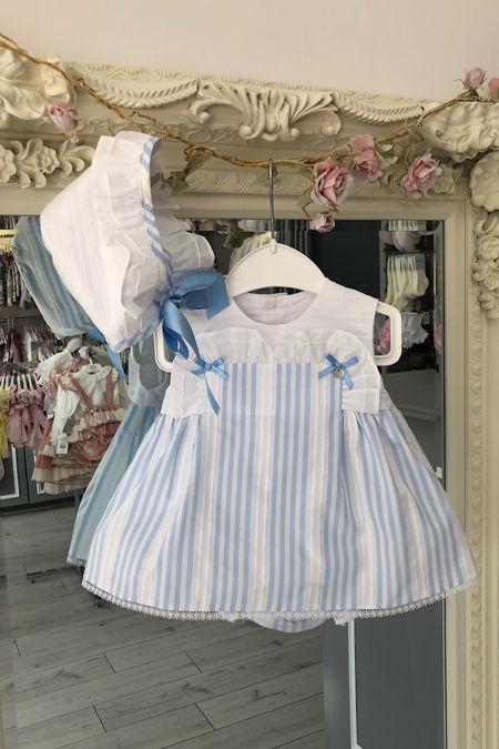 Yoedu blue and white stripe three piece set