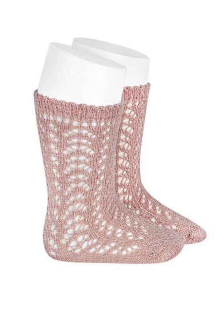 Condor rosa perle openwork knee high socks