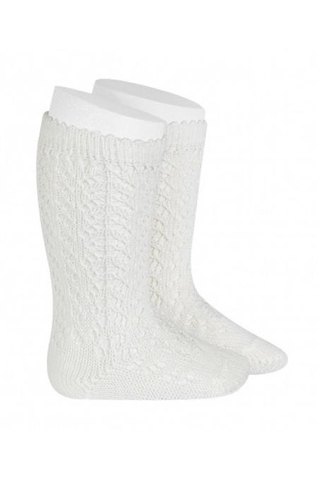 Condor white perle openwork knee high socks