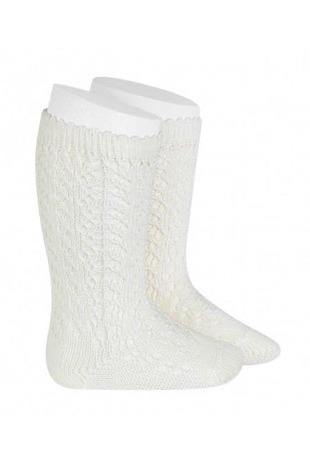Condor cream perle openwork knee high socks