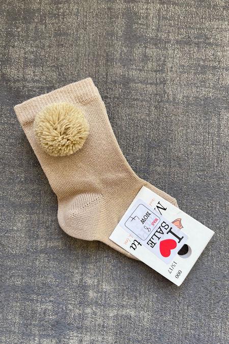 meia pata glitter pom pom knee high socks