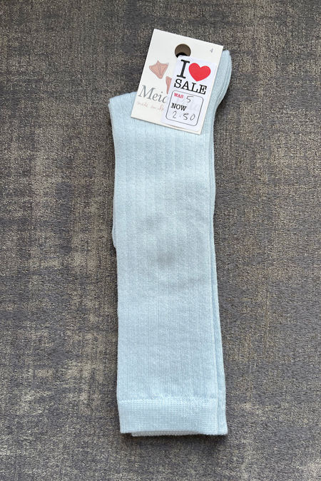 Meia Pata baby blue ribbed knee high socks