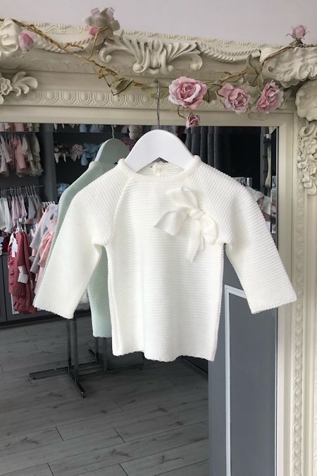 Cream bow jumper