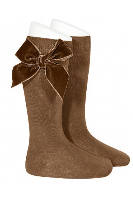 Condor toffee velvet bow knee-high socks