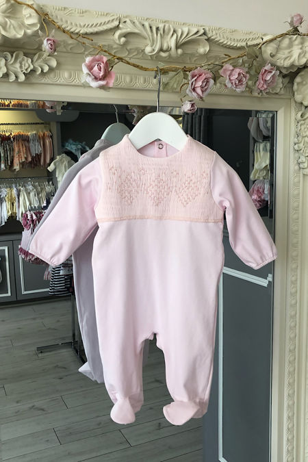 Paris pink smocked top baby grow