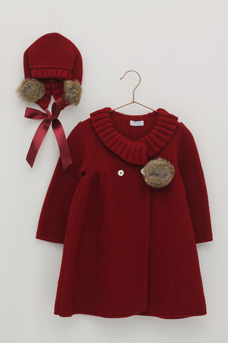 Foque burgundy knitted coat and bonnet
