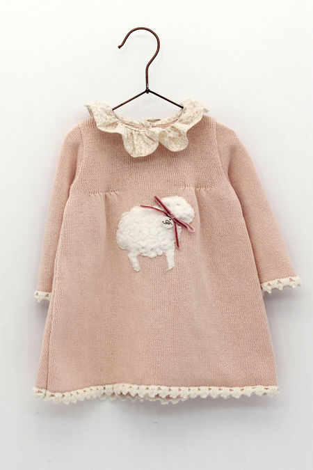 PRE ORDER Foque pink sheep knitted dress