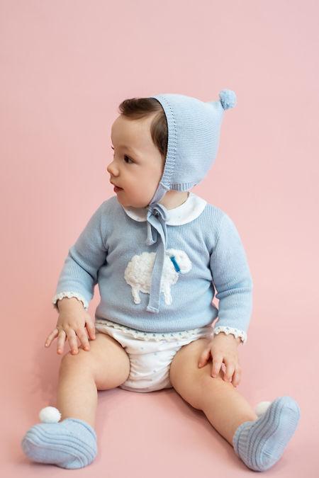 Foque blue sheep print sweater and pants set