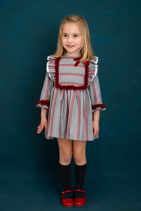 Foque grey and red stripe dress