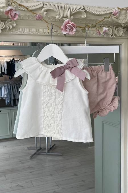 Rochy cream and pink two piece set