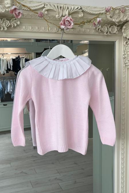 Pink frill collar jumper