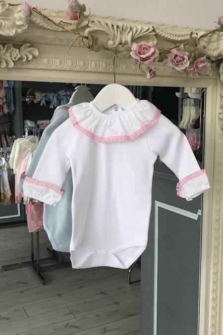 pink trim frill collar cuffed vest