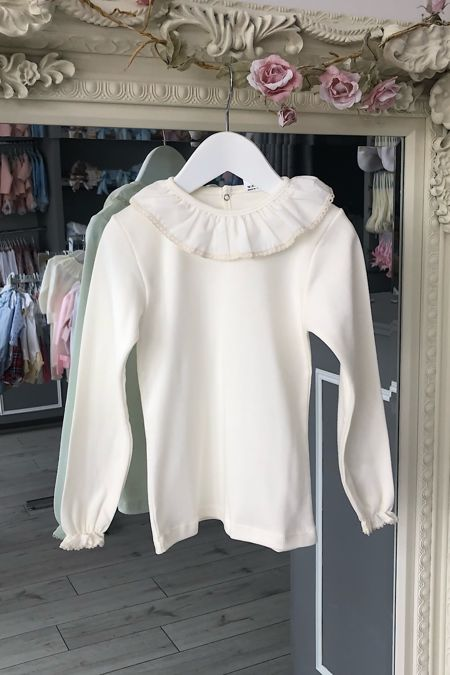 Cream frill collar long sleeved top