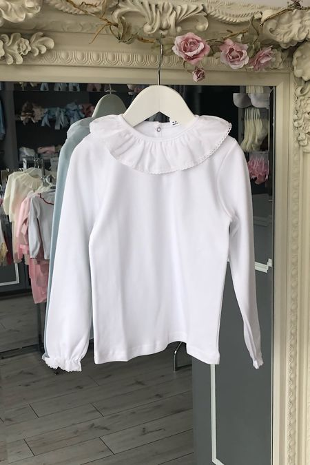 white frill collar long sleeved top