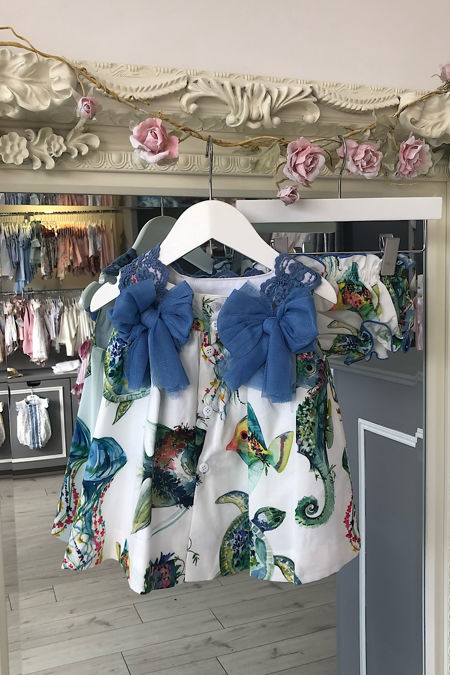Jose Varon blue tropical print dress and knickers set
