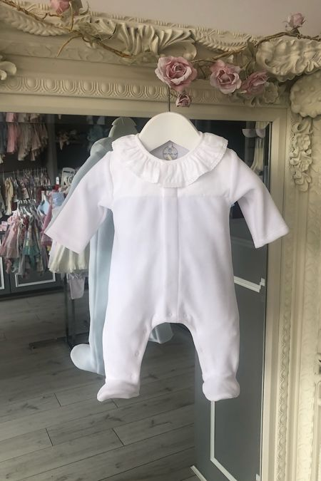 Laranjinha white velour baby grow