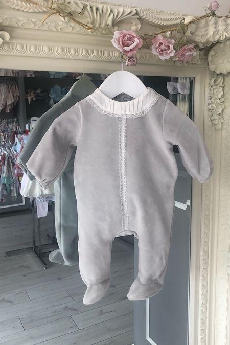 Alice grey velour baby grow