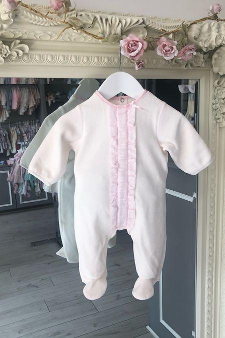 Eliza pink velour baby grow