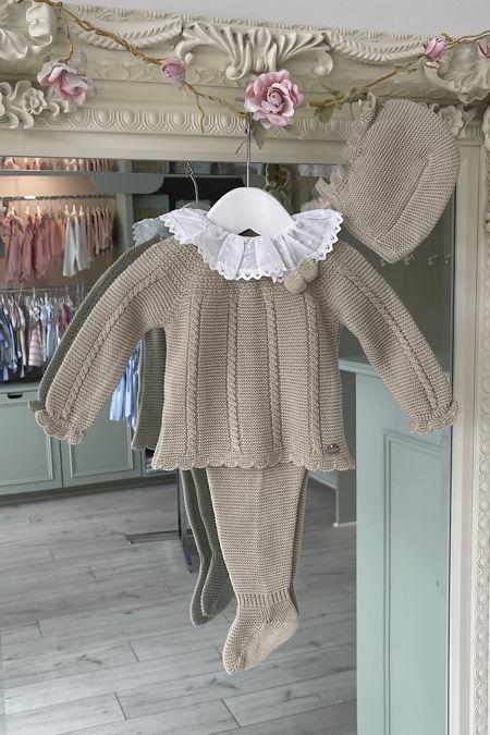 Juliana Bertie beige knitted three piece set
