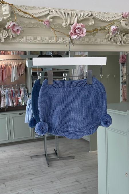 Juliana blue knitted pom pom pants