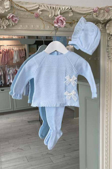 Juliana blue bow three piece knitted set