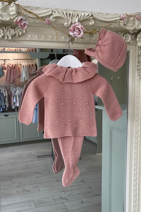Juliana Sadie dusky pink three piece knitted set